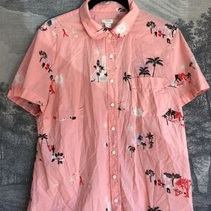J. Crew Pink Hawaiian Palm Tree Retro Print Sz L
